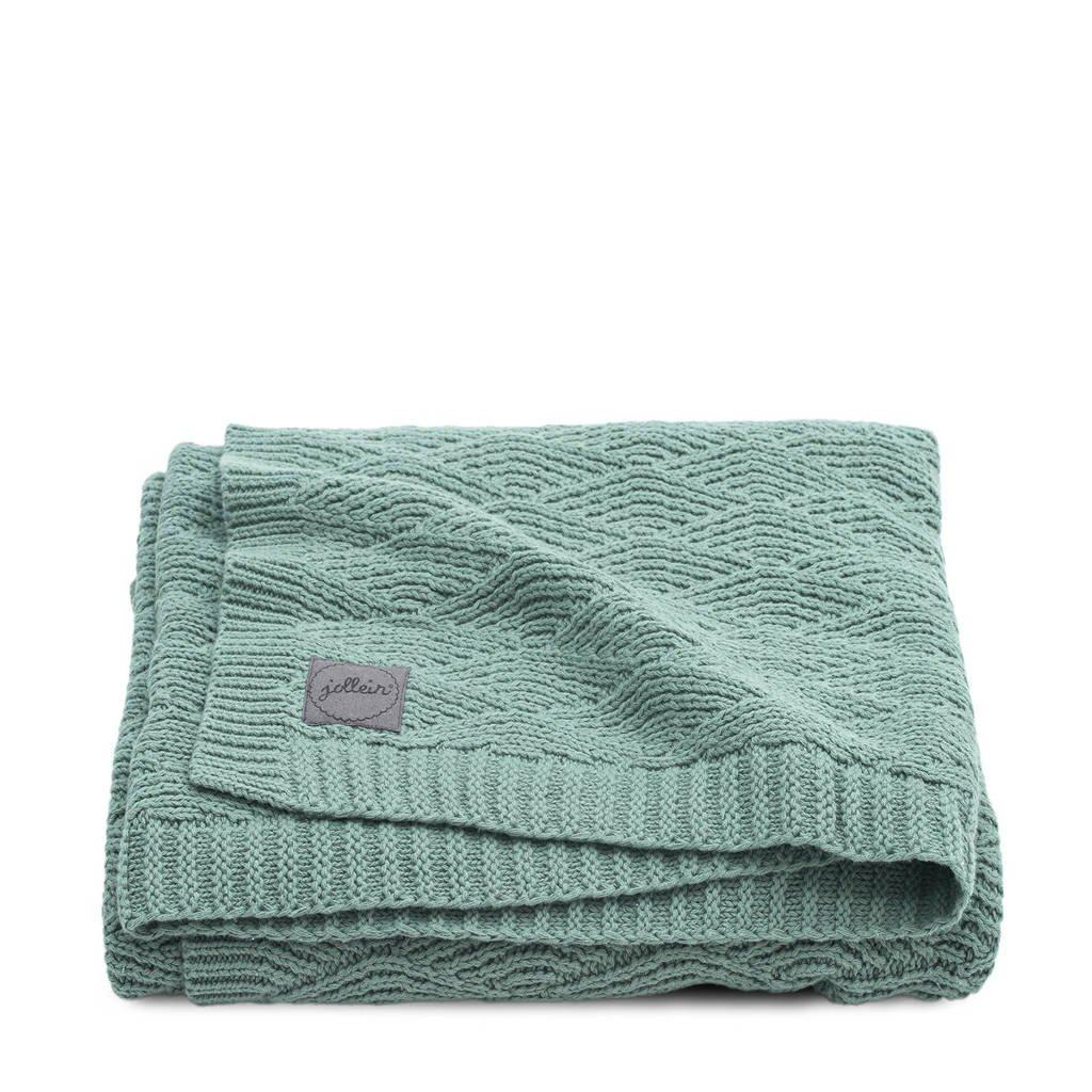 Jollein baby wiegdeken 75x100 cm River knit ash green, Groen
