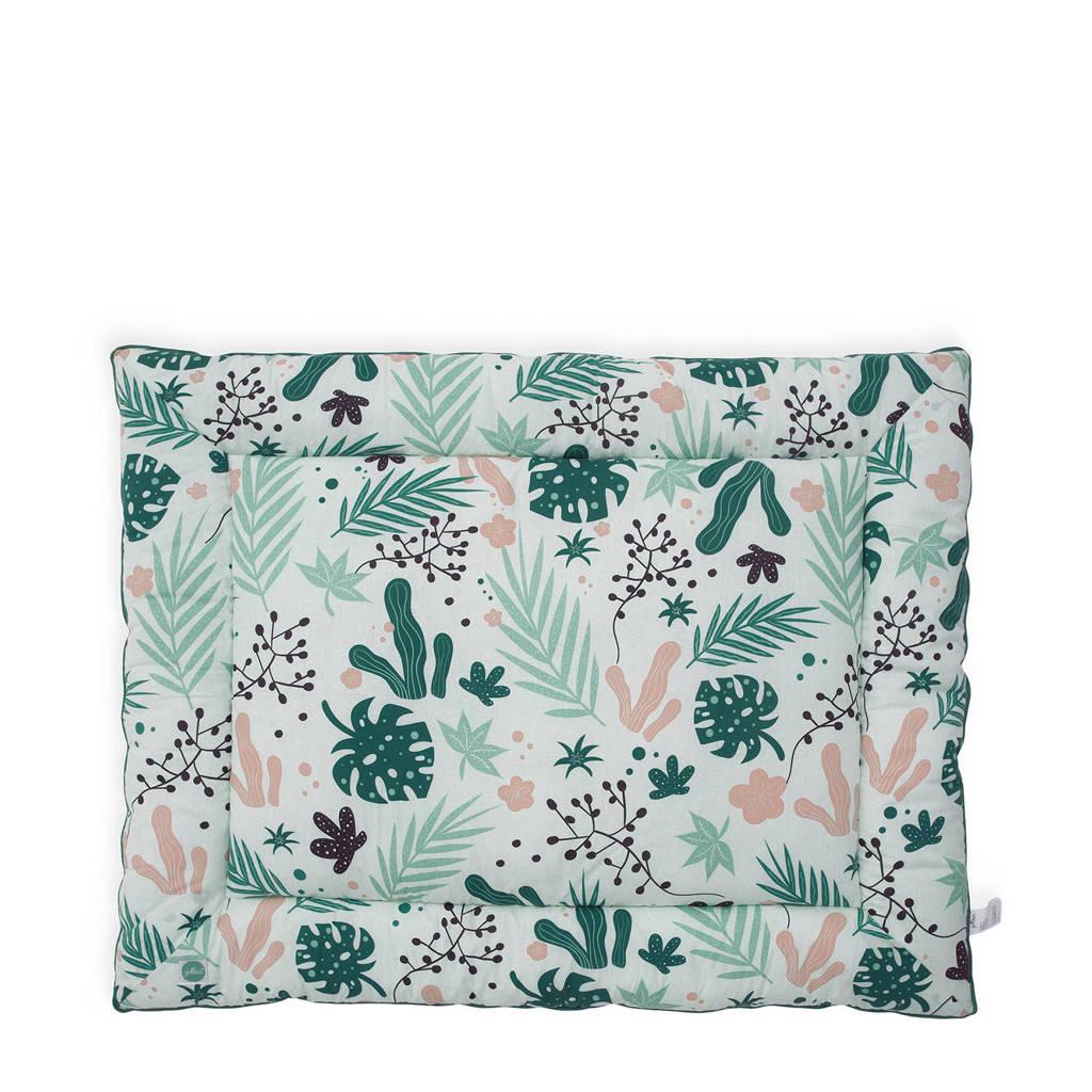 Jollein boxkleed 80x100 cm Leaves, Groen/roze