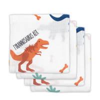 Jollein hydrofiele luiers 70x70 cm Dinosaur - set van 4, Wit/oranje/blauw