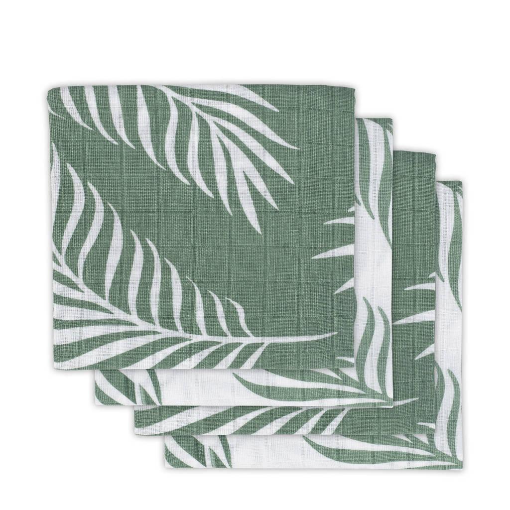 Jollein hydrofiele luiers 70x70 cm Nature ash green - set van 4, Groen/wit