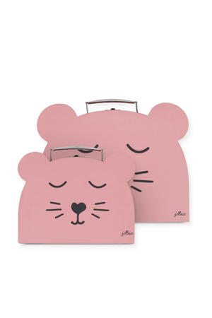 speelkoffertje Animal club roze - set van 2