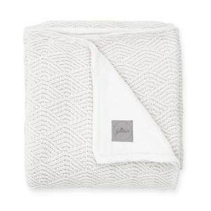 baby ledikantdeken100x150 cm River knit cream white/coral fleece