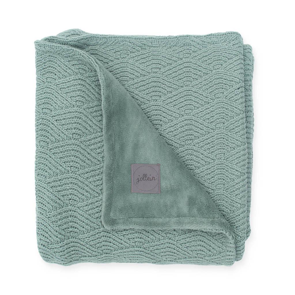 Jollein baby ledikantdeken 100x150 cm River knit ash green/coral fleece, Groen