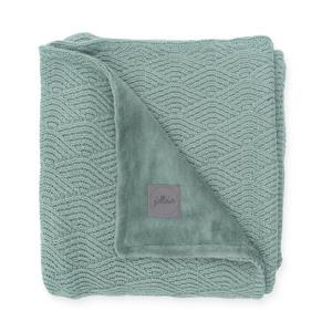 baby ledikantdeken 100x150 cm River knit ash green/coral fleece