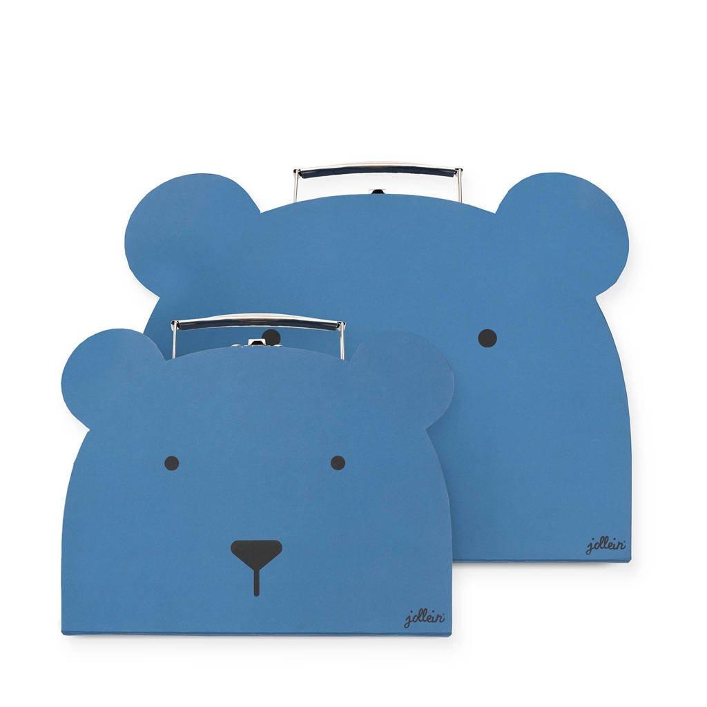 Jollein speelkoffertje Animal club steel blue - set van 2, Blauw