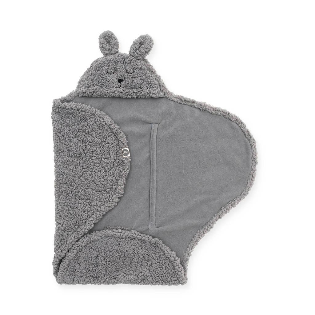 Jollein wikkeldeken Bunny storm grey, Grijs