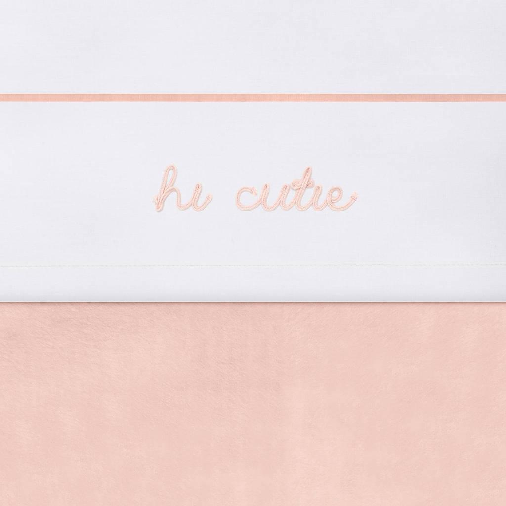 Jollein baby wieglaken 75x100cm Hi cutie pale pink, Wit/roze