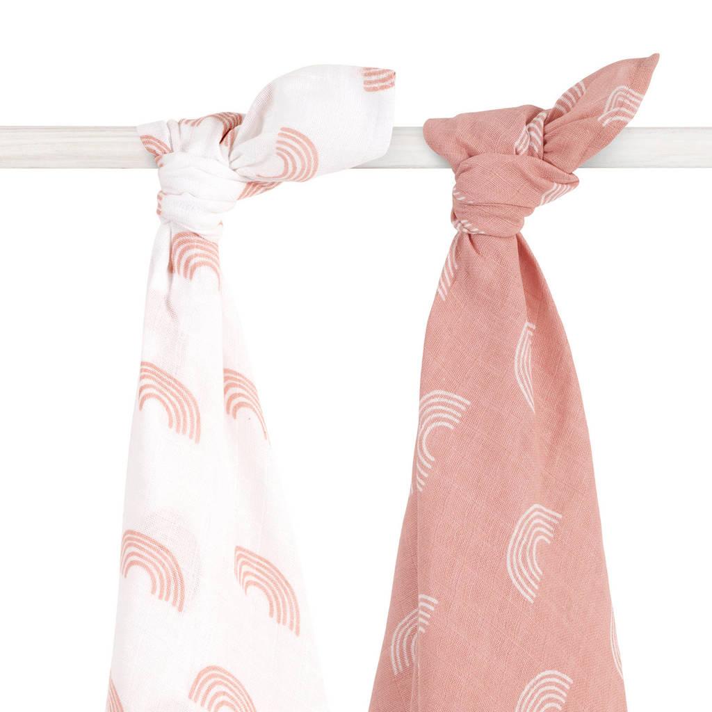 Jollein hydrofiele multidoek large 115x115 cm Rainbow blush pink - set van 2, Roze/wit