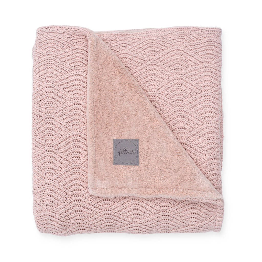 Jollein baby wiegdeken 75x100 cm River knit pale pink/coral fleece, Roze