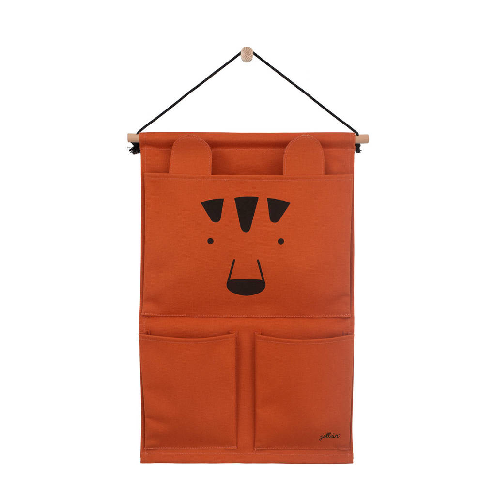 Jollein wandorganizer Canvas Animal club rust, Brique