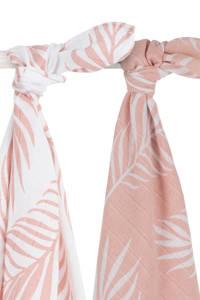 Jollein hydrofiele multidoek large 115x115 cm Nature pale pink - set van 2, Lichtroze/wit
