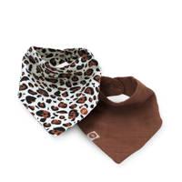 Jollein slab bandana hydrofiel Leopard natural - set van 2, Bruin/beige