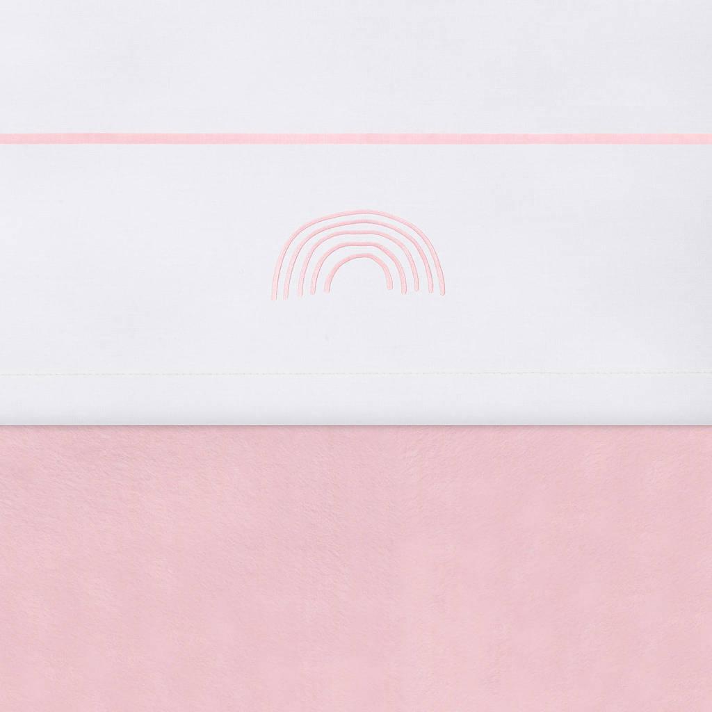 Jollein baby ledikantlaken 120x150 cm Rainbow blush pink, Wit/roze
