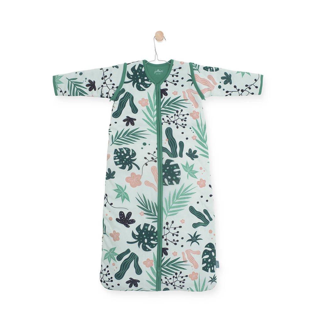 Jollein 4 seizoenen baby slaapzak 70 cm Leaves, Groen/roze