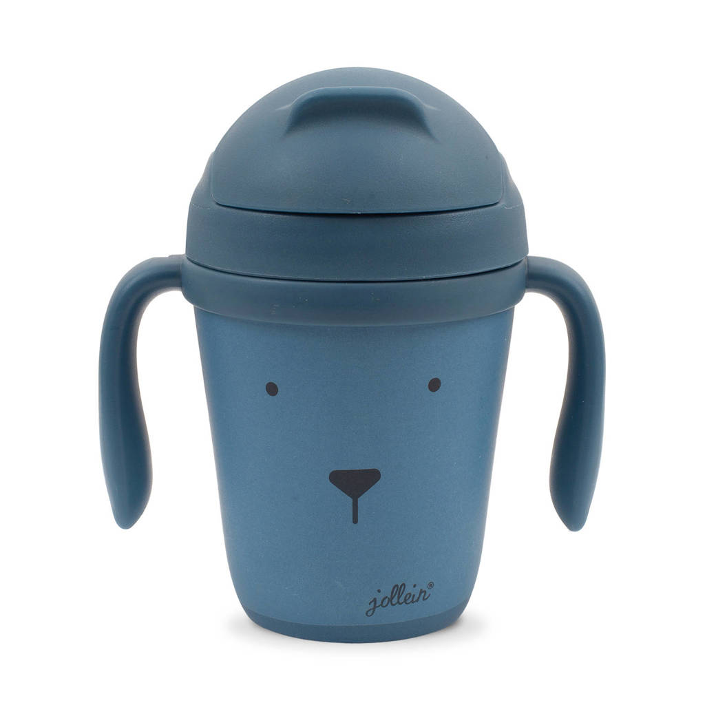 Jollein drinkbeker bamboe Animal club steel blue, Blauw