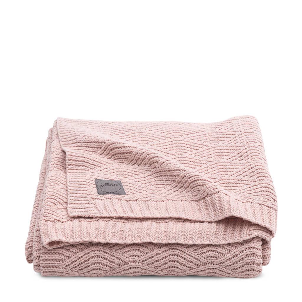 Jollein baby ledikantdeken 100x150 cm River knit pale pink, Roze