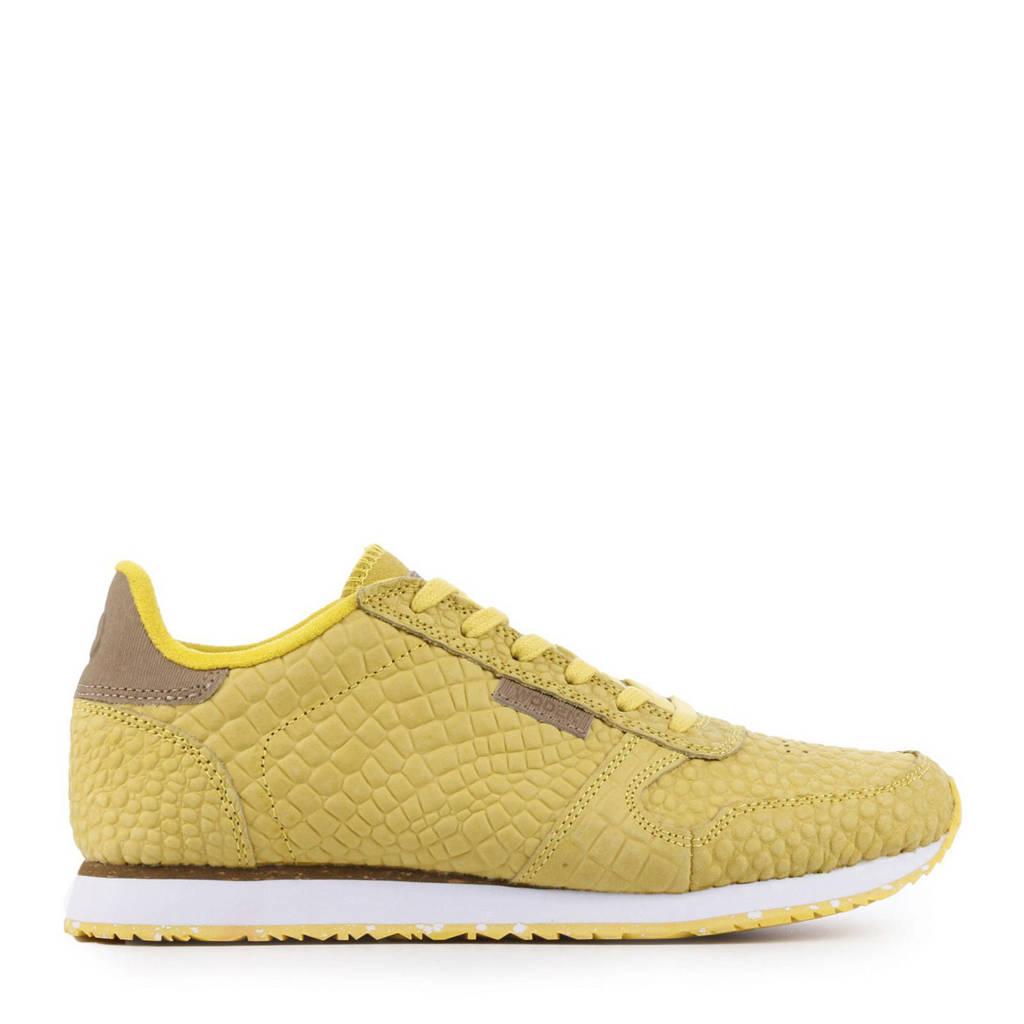 Woden Ydun Croco  suède sneakers geel, 607 Super Lemon