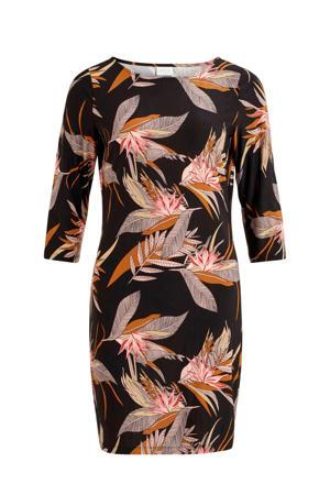 jersey jurk met all over print zwart/oranje