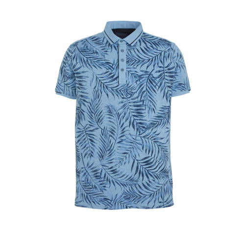 GABBIANO slim fit polo met all over print blauw