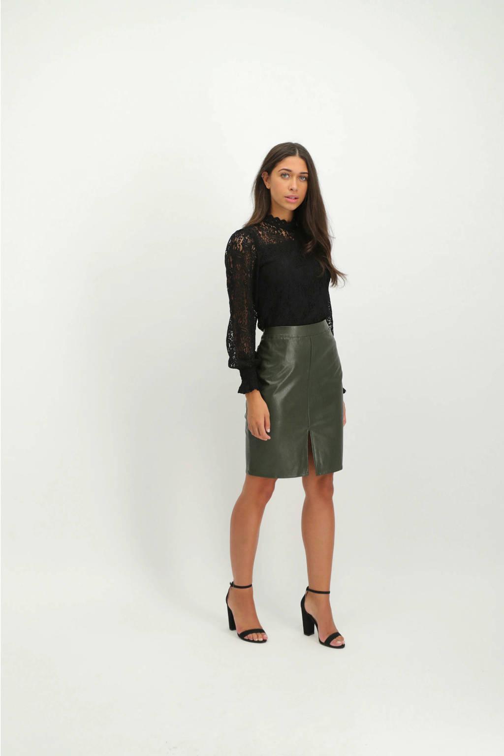 Lofty Manner semi-transparante kanten top Lisette zwart, Zwart