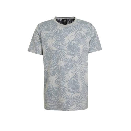 Kultivate T-shirt met bladprint grijs