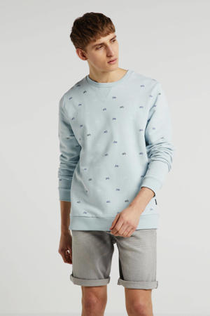 sweater met all over print grijs