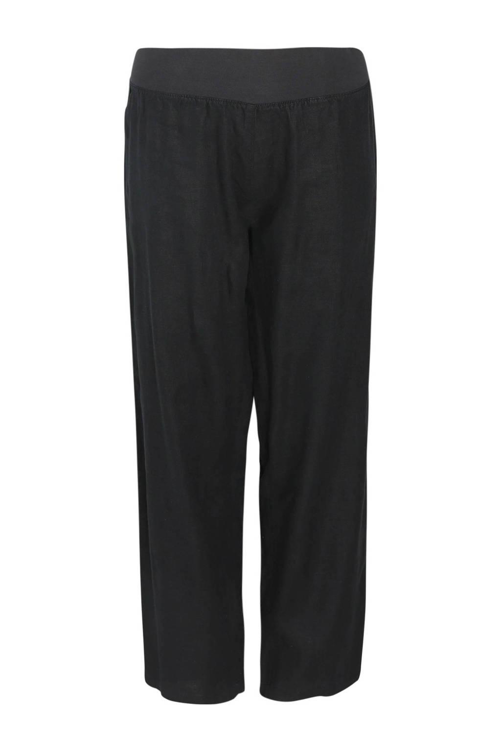 Paprika linnen loose fit broek zwart, Zwart