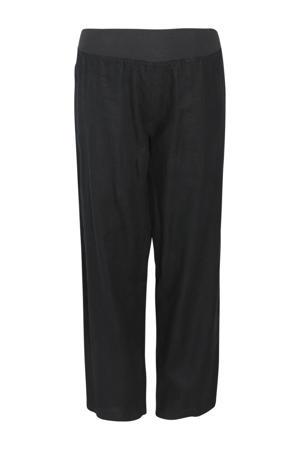 linnen high waist palazzo broek zwart
