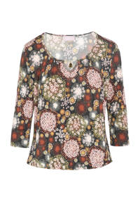 Cassis top met all over print multicolor, Multicolor