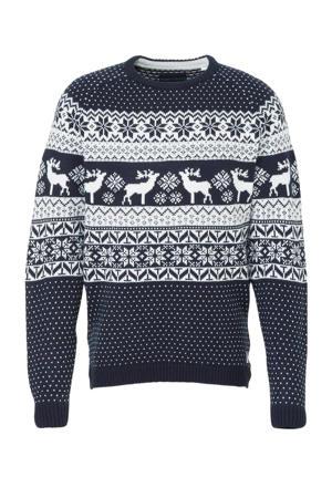 Angelo Litrico grofgebreide trui met sterren donkerblauw/wit