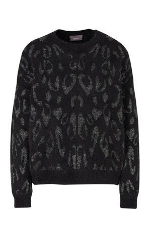 Yessica trui met dierenprint en glitters zwart