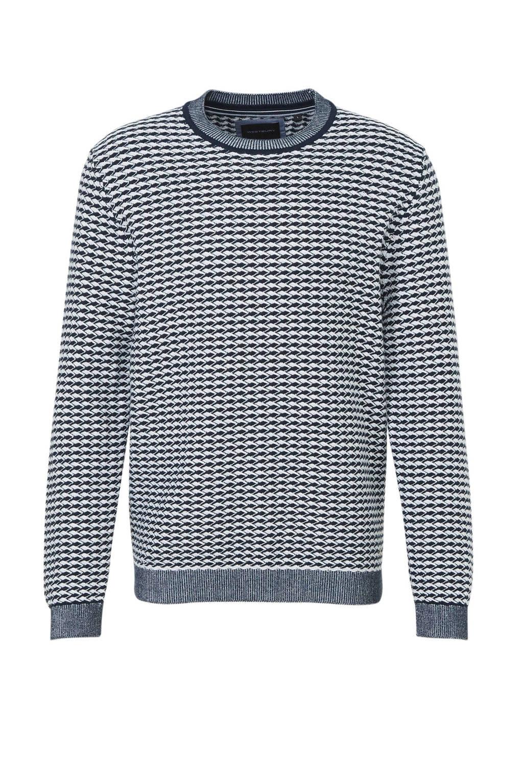 C&A gebreide trui met all over print blauw/wit, Blauw/wit