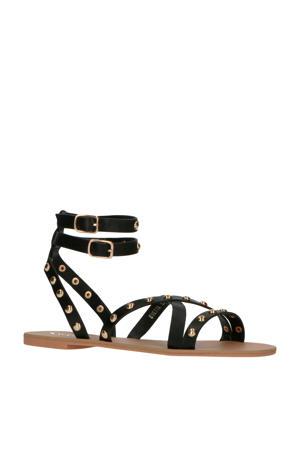 Evetta  sandalen met studs zwart