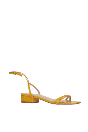 Evan  sandalen crocoprint okergeel