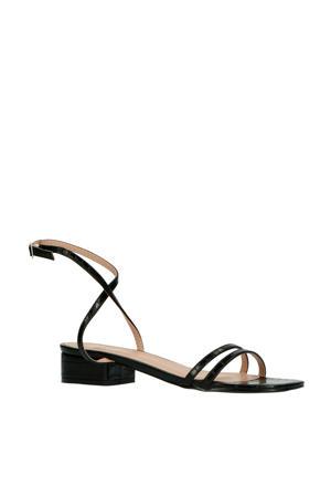 Evan  sandalen crocoprint zwart