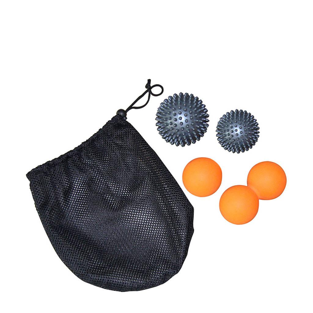 Tunturi Massage Ball Set - 4 ballen, Zwart