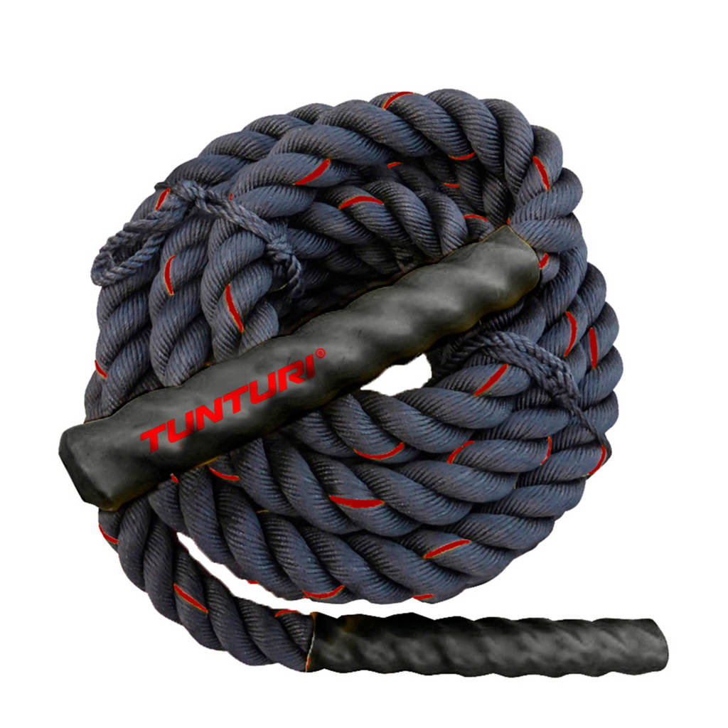 Tunturi Battle Rope - Fitness Rope - Crossfit Rope - Fitness touw - 9 meter, Zwart