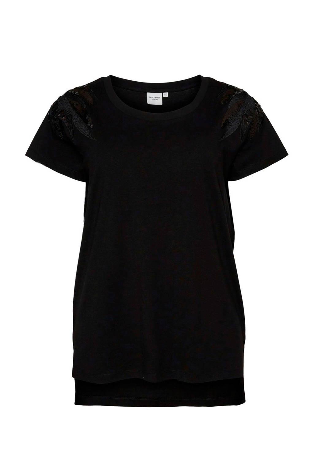 JUNAROSE T-shirt met glitters zwart, Zwart