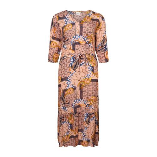 JUNAROSE maxi jurk met all over print en ceintuur