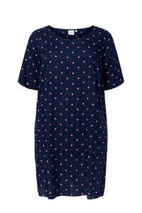 JUNAROSE jurk met stippen donkerblauw, Donkerblauw