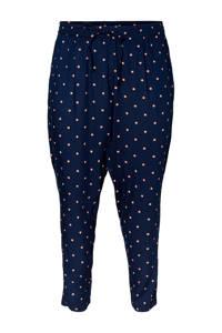 JUNAROSE high waist tapered fit broek met stippen donkerblauw, Donkerblauw
