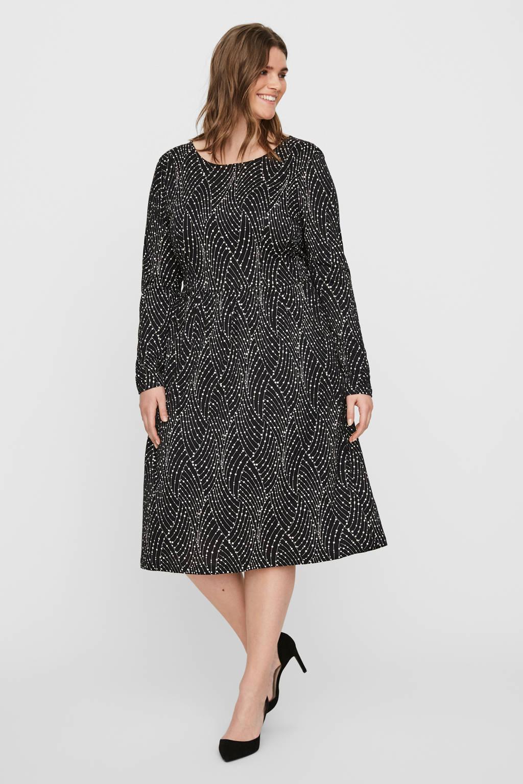 JUNAROSE A-lijn jurk met all over print zwart, Zwart