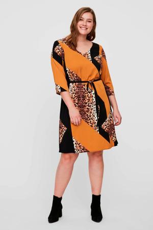 jersey jurk met all over print en ceintuur zwart/oranje