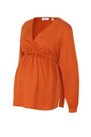 zwangerschapsblouse met panterprint en plooien oranje