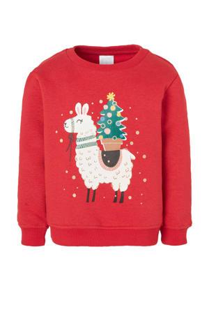 Palomino sweater met printopdruk en glitters rood/wit/goud