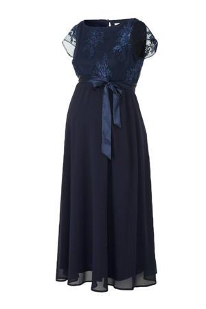Yessica semi-transparante zwangerschapsjurk met borduursels donkerblauw