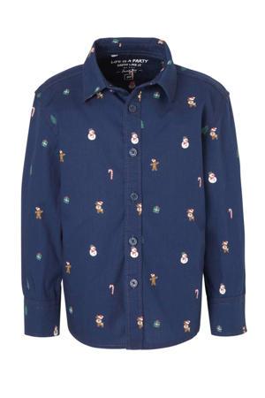 Palomino overhemd van biologisch katoen donkerblauw/multi
