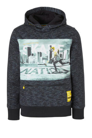Here & There hoodie met printopdruk donkerblauw/multi