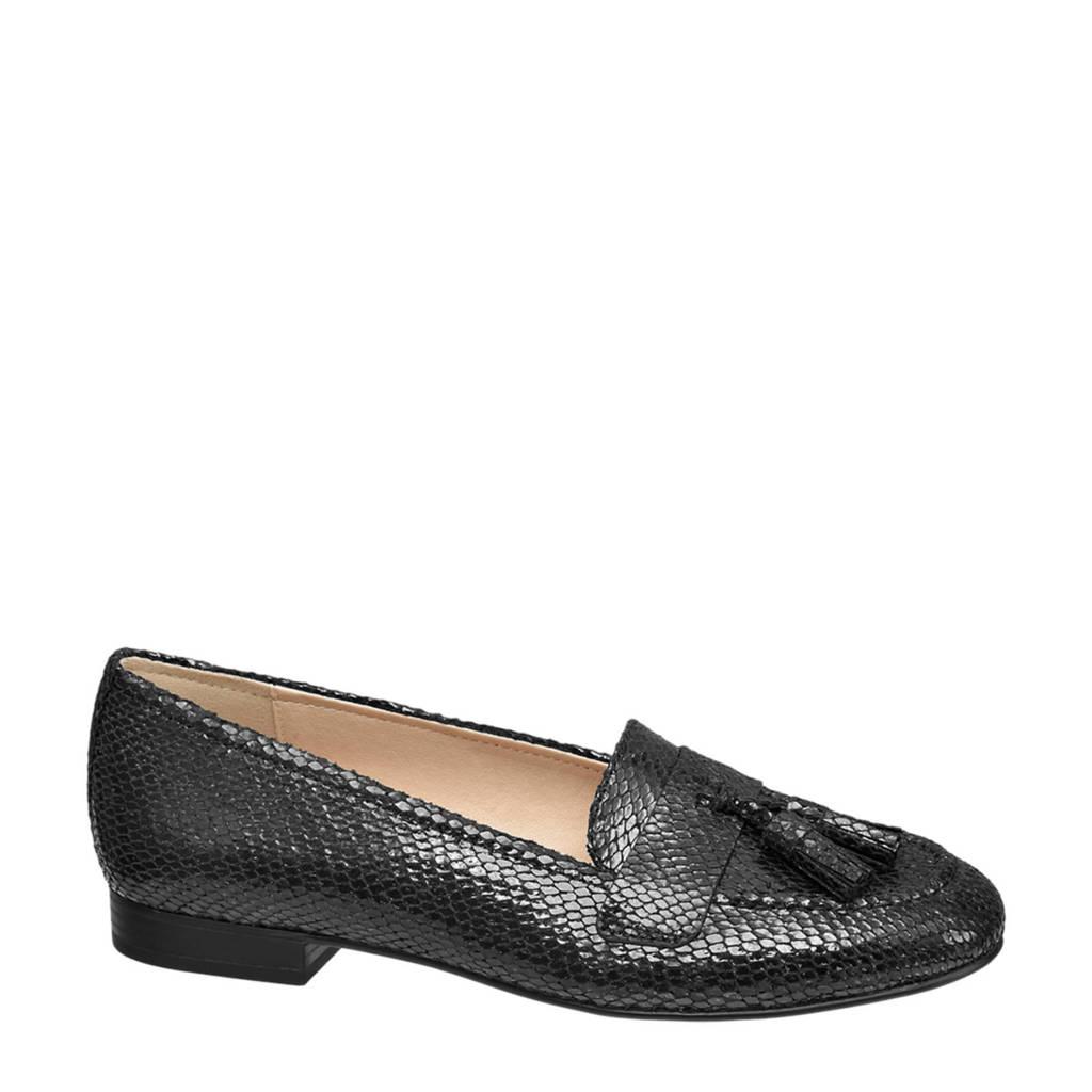 Graceland   loafers slangenprint zwart, Zwart