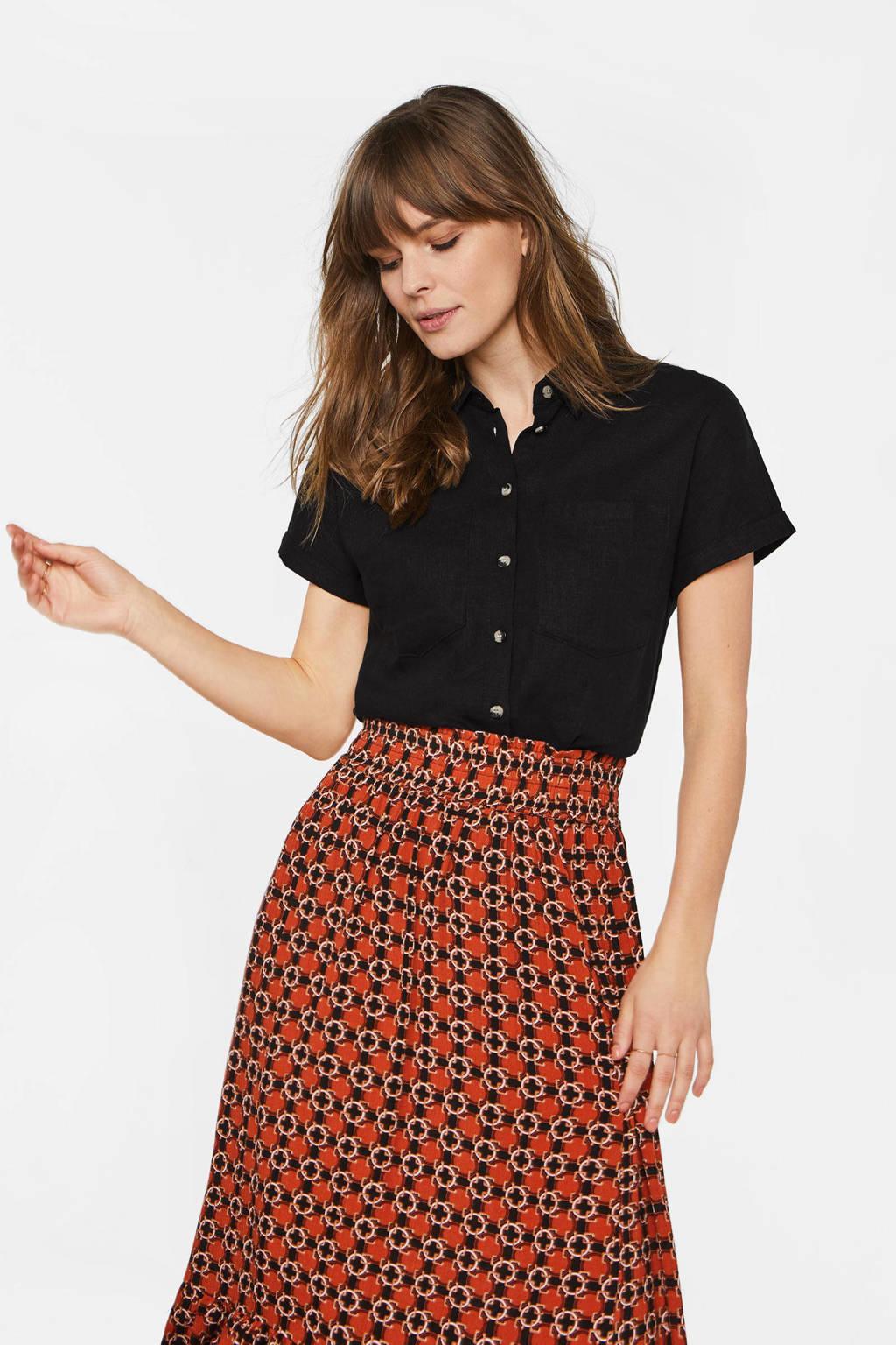 WE Fashion blouse met linnen zwart, Zwart